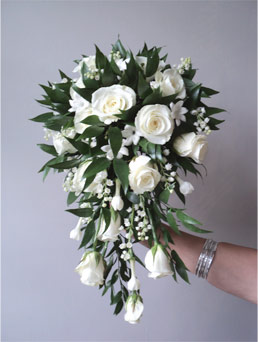 wired bouquet using white akito roses